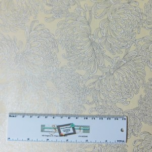 Patchwork Quilting Sewing Fabric Cream Silver Metallic Floral 50x55cm FQ New