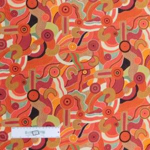 Patchwork Quilting Sewing Fabric Aboriginal Orange Katoomba 50x55cm FQ New
