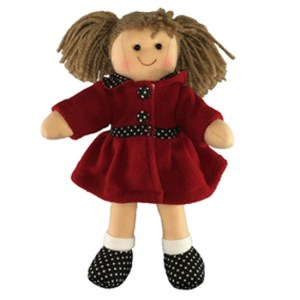 Lovely Soft Rag Doll Pia Dressed with a Red Coat Girl Dolly 25cm New