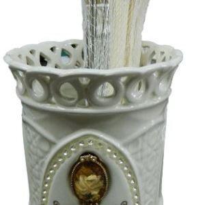 French Country Chic China Kitchen Crystal Rose Utensils Holder with Utensils New