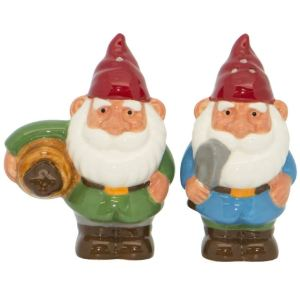 French Country Collectable Novelty Garden Gnomes Salt and Pepper Set New