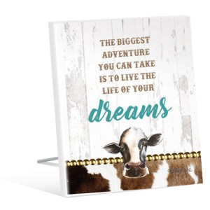 French Country Vintage Inspired Wall Art Wooden Live Your Dreams Cow Sign NEW