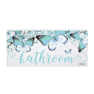 French Country Wall Art Plaque Butterfly Bathroom Wooden Sign New