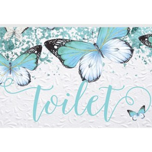 French Country Inspired Wall Art Plaque Butterfly Toilet Wooden Sign New
