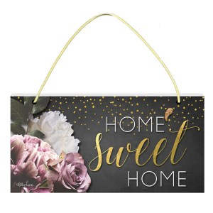 French Country Inspired Art Midnight Floral Home Sweet Home Wooden Sign New