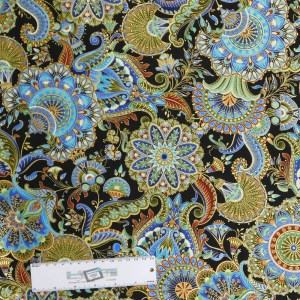 Quilting Patchwork Sewing Fabric METALLIC GOLD FLORAL PAISLEY 50x55cm FQ New