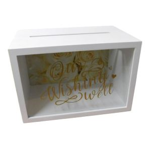Decorative WHITE Wooden with Glass Front WISHING WELL Wedding Engagement Card Box NEW