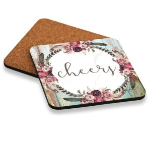 Kitchen Cork Backed Coasters Only BOHO DREAMS CHEERS Set 6 New
