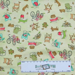 Patchwork Quilting Sewing Fabric ROAM SWEET HOME GREEN CAMPING 50x55cm FQ New