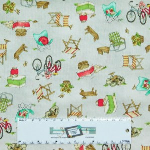 Patchwork Quilting Sewing Fabric ROAM SWEET HOME GREY CAMPING 50x55cm FQ New