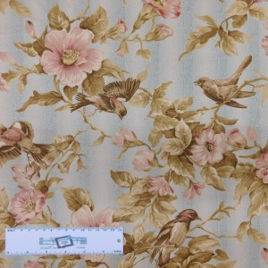 Patchwork Quilting Sewing Fabric MODA HERITAGE FLORAL BIRDS 50x55cm FQ New
