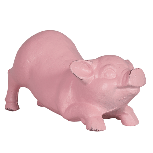 French Country Vintage Inspired Pink Pig Decorative Wrought Iron Ornament New