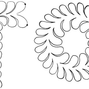 Quilting Full Line Stencil FEATHER WREATH BORDER Reusable for Quilts use Pounce A3 New