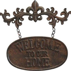 Country Vintage Inspired Wall Art WELCOME TO OUR HOME Metal Plaque New