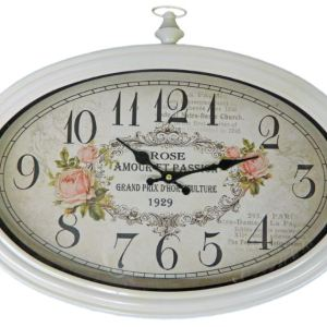 Clocks Country Vintage Inspired Wall ROSE AMOUR ET PASSION Hanging Clock New