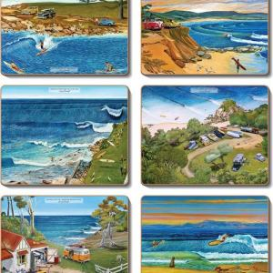 Country Inspired Kitchen SURF SAFARI Cork Backed Placemats or Coasters Set 6 New