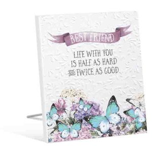 French Country Inspired Art Butterfly BEST FRIEND Life with You Wooden Sign New