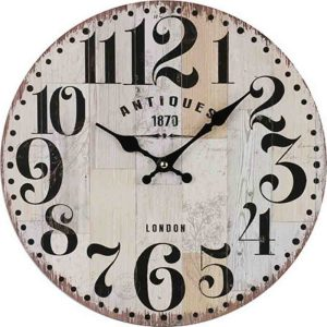 Clocks Country Vintage Inspired Wall LONDON ANTIQUES BOARDS Clock 34cm New