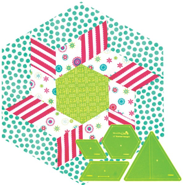 Quilting Patchwork Sewing Template 12'' Pinwheel Hexagon Matilda's Own New