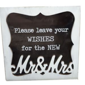 Decorative Wooden with Glass Front WISHING WELL MR & MRS Wedding Card Box New