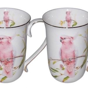 French Country Chic Kitchen Tea Coffee Mugs AUSTRALIAN COCKATOO Set of 2 New