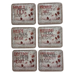 Country Kitchen HEART AFFIRMATIONS Cork Backed Coasters Set 6 NEW Cinnamon