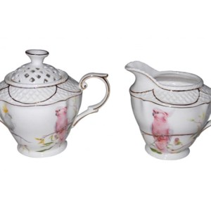 French Country Chic China Kitchen AUSTRALIAN COCKATOO Sugar and Creamer Set New