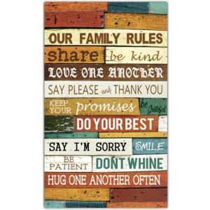 French Country Inspired Wall Art OUR FAMILY RULES 30x50cm Wooden Sign New