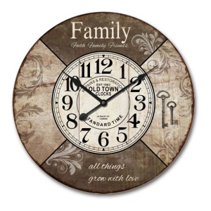 Clock Country Vintage Inspired Wall Hanging FAMILY FAITH FRIENDS Clock 60cm New