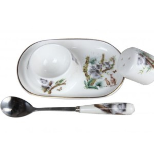 French Country Lovely Egg Cup with Spoon and Salt AUSTRALIAN WILDLIFE Gift Boxed New