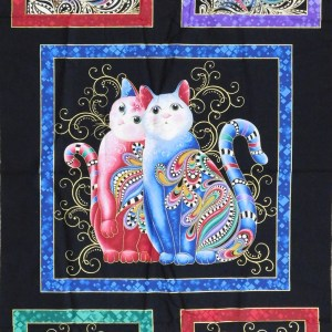 Patchwork Quilting Sewing Fabric Catitude 2 Metallic Bright Panel 60x110cm New