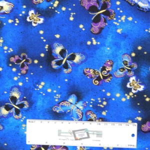 Patchwork Quilting Sewing Fabric BUTTERFLY JEWEL BLUE METALLIC 50x55cm FQ New