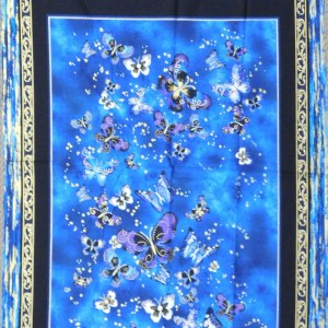 Patchwork Quilting Sewing Fabric BUTTERFLY JEWELL BLUE METALLIC Panel 60x110cm New
