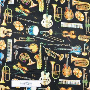 Patchwork Quilting Sewing Fabric MUSICAL INSTRUMENTS 50x55cm FQ New
