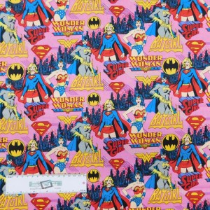 Patchwork Quilting Sewing Fabric GIRL SUPER HEROES 50x55cm FQ New