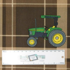 Patchwork Quilting Sewing Fabric JOHN DEERE BROWN PLAID 50x55cm FQ New