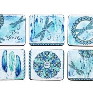 Country Kitchen MANDALA DRAGONFLY Cork Backed Coasters Set 6 NEW Cinnamon