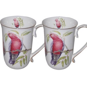 French Country Chic Kitchen Tea Coffee Mugs AUSTRALIAN GALAH Set of 2 New