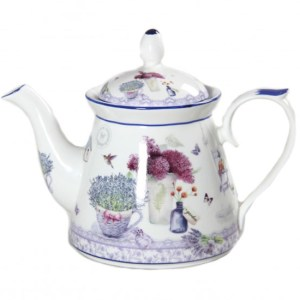 French Country Lovely Kitchen Teapot SPRING LAVENDER China Tea Pot with Giftbox New