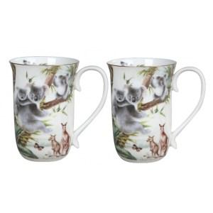French Country Chic Kitchen Coffee Mugs Elegant AUSTRALIAN WILDLIFE Set of 2 New