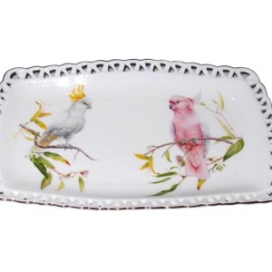 French Country Chic Kitchen Elegant Plate AUSTRALIAN COCKATOO Serving Tray New