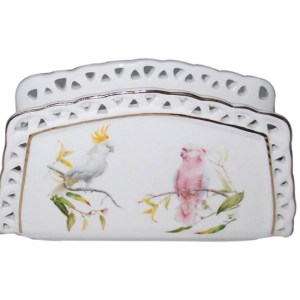 French Country Chic Fine China Kitchen AUSTRALIAN COCKATOO Napkin Holder New