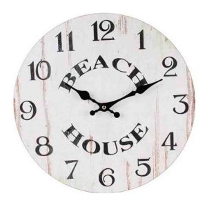 Clocks Country Vintage Inspired Wall WHITEWASH BEACH HOUSE Clock 34cm New