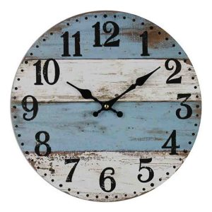 Clocks Country Vintage Inspired Wall WHITE AND BLUE FLOOR BOARDS Clock 34cm New