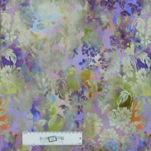 Patchwork Quilting Sewing Fabric DIAPHANOUS PURPLES FLORAL 50x55cm FQ New
