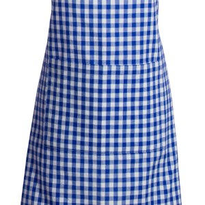 French Country Styled Gingham Check Kitchen Apron BLUE Full Adult Size New