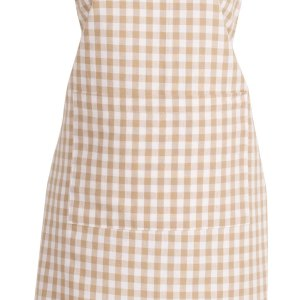 French Country Styled Gingham Check Kitchen Apron TAUPE Full Adult Size New