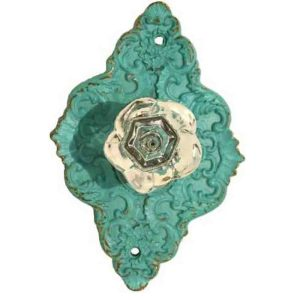 French Country Vintage Inspired AQUA Ornate Diamond Back Crystal Knob x 2 New
