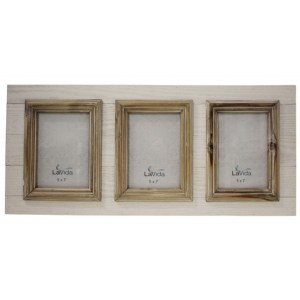French Country Inspired Photo Frame WHITEWASH WOOD 3 Photos 5x7 New