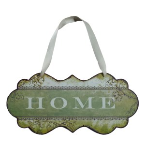 Country Printed Quality Metal Sign with Hanger GREEN HOME Plaque New